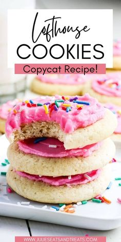 Copycat Lofthouse Cookies are a light, cake-like cookie topped with a homemade buttercream frosting! Such an easy cookie recipe. Don't forget the sprinkles on top of the frosting.