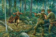 Sword attack on marauders of 1st Battalion, May 17, 1944. Art by Peter Dennis