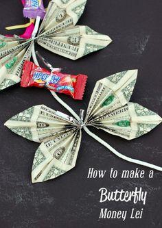 Schmetterlinge aus Geldscheinen basteln, Kette aus Geld selber machen, kreative Geldgeschenke