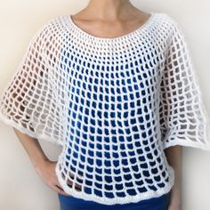 Circular Mesh Poncho PDF Crochet Pattern by CrochetSpotPatterns Crochet Bolero, Crochet Poncho Patterns, Crochet Cardigan, Crochet Scarves, Crochet Clothes, Crochet Hooks, Shirt Patterns, Knitting Patterns, Crochet Round