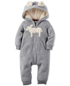 Zip-up snuggly all-in-one warmth and comfort with Carter's soft fleece moose…