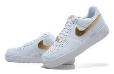 Nike Air Force 1 Schoenen 2013 Heren Wit Cyaan Goud