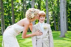 Bride kissing ring bearer