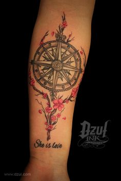 Gorgeous addition to existing tattoo, we did the rose compass a few weeks ago but we love the custom drawn edition of the cherry blossoms and branch. Tons more at www.dzul.com