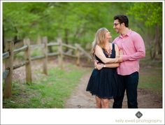 Navy and pink spring time engagement photos at Great Falls Park in Great Falls, Virginia | Kelly Ewell Photography | Leesburg VA Wedding Photographer