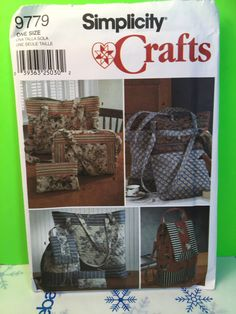Simplicity Crafts Pattern 9779 Tote, Backpack, Purse And Cosmetic Bag