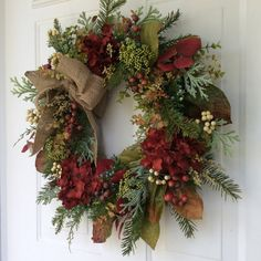 Fall Wreath-Winter Wreath-Fall Decor-Hydrangea Wreath-Christmas Wreath-All Season Wreath-Woodland Wreath-Wreath for Door-Evergreen Wreath I love making wreaths that transend the seasons, making them perfect for decorating many months of the year. This wreath is a prime example: