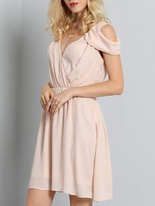 e8d204b0caa39 Pink Off The Shoulder V Neck Pleated Dress EmmaCloth-Women Fast Fashion  Online