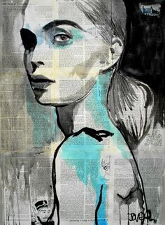 Art by Loui Jover... Poetry by T.A. Johnson... Behind the mirrored color's flow... with blues and blacks to shine... like ripples on the surface of... those pools we hide behind...
