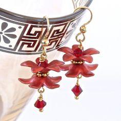 Cranberry Star Jasmine Flower Earrings