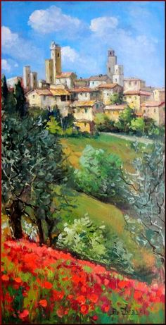 """Tuscan Village"" (Italy) Painting by Bruno Chirici Tuscany Landscape, Landscape Art, Landscape Paintings, Tuscan Art, Italian Village, Italy Art, Cool Paintings, Provence, Art Oil"
