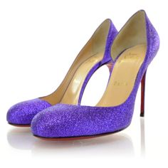 CHRISTIAN LOUBOUTIN Helmour 100 Glitter Pumps 38.5 Purple NEW ❤ liked on Polyvore