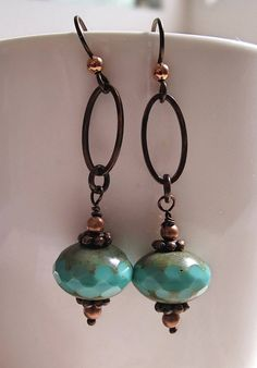 Copper dangle Niobium large green rondelle OOAK earring