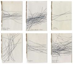 """Milena Bonilla, Noises, 2007 (ongoing), ink on paper Milena Bonilla, Noises, 2007 (ongoing), ink on paper The drawings are made by following with the gaze pedestrians in parks, airports, malls, streets, etcetera, and mapping the paths that people are taking in paper by tracing lines according to the """"direction"""" the eye perceives in the movement."""