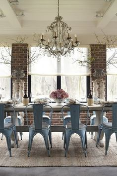 Chandelier + Tolix Style Metal Chairs + Reclaimed Farmhouse Dining Table = Industrial Chic Love | Through the Front Door