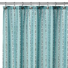 WaterShed® Single Solution™ 2-in-1 Bubbles on a String Fabric Shower Curtain - Aqua - BedBathandBeyond.com