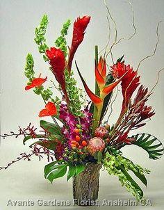 large flower arrangements for church   ... Floral Design Gallery - Anaheim, CA : Large Tropical Arrangement in