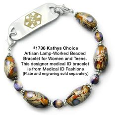 Medical ID Bracelet 1736 Kathys Choice from Medical ID Fashions and Designer Abbe Sennett