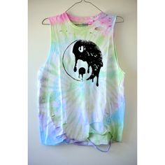 Pastel Grunge 90's TIE DYE Distressed Melting YINYANG Muscle Tank ($34) found on Polyvore