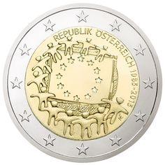 """Zum Jubiläum """"30 Jahre Europaflagge"""" gibt es jetzt eine 2-Euro-Sonderedition: eine gemeinsame Münze für die 19 Länder der Währungsunion. LIEFERUNG NUR IN GANZEN ROLLEN ZU 25 STÜCK."""