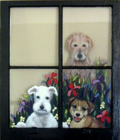 Painted Window Pet Portrait Recycled Animal Art Dog by petzoup, $165.00