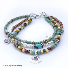 Boho Bracelet for Women, Colorful Beaded Bracelet, Boho Jewelry, Bohemian Jewelry I fell in love with these czech glass Bracelets Diy, Bohemian Bracelets, Layered Bracelets, Seed Bead Bracelets, Bohemian Jewelry, Handmade Bracelets, Beaded Jewelry, Handmade Jewelry, Beaded Necklace