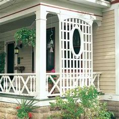 Beautiful trellis design for porch.  Adds a little privacy