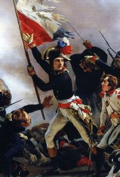 syuminiki:    Napoleon Bonaparte leading his troops over the bridge of Arcole (detail), by Horace Vernet, 1826.