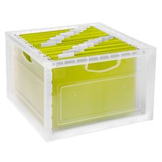 The Container Store > Stacking File & Storage Crate.  Love the chartreuse folders.