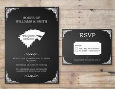 Game of Thrones Wedding Invitation & RSVP by FlurgDesigns on Etsy, £10.00