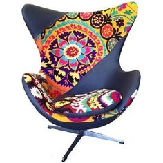 egg chair in patchwork, egg chair suzani