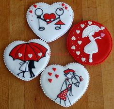 ¡Preciosas #galletas decoradas para #SanValentin! #Receta i idea de @Julia M Usher / Decorated sugar cookies for St. Valentine's Day.