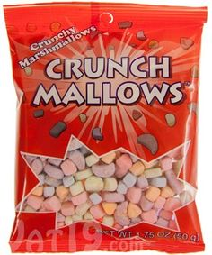 Cereal marshmallows are the best. But getting them typically requires sorting through a lot of healthy nonsense like toasted oats, grains, and fiber. No more, amigos! Crunchmallows are the delicious, tasty, crunchy cereal marshmallows you love and absolutely nothing else! Each 1.75-ounce bag contains approximately 350 colorful, melt-in-your-mouth cereal marshmallows which are perfect for injecting your favorite cereals, cocoas, and party mixes with a ton of sugary goodness. Made in the USA.