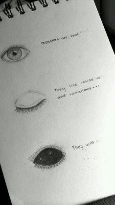 Eyes Drawing Tumblr, Sad Drawings, Drawing Quotes, Art Drawings Sketches, Drawing Eyes, Pencil Drawings, Deep Drawing, Drawing Art, Drawing Feelings
