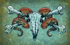 Painting Process Alternating shades of blue, yellow, and orange acrylics were used to create the hazy background, various gouaches were used to block in the ram skull and tentacle horns, and then dark