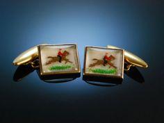 Vintage Horse and Hunter Cufflinks! Manschettenknöpfe Essex Crystal mit Reiter Darstellung, Fuchsjagd. England um 1950. Origineller Herren Schmuck / Schmuck für den Gentleman bei Die Halsbandaffaire München