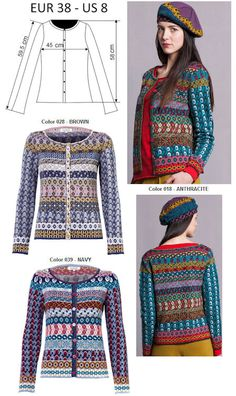 IVKO Woman`s Merino Wool Geometric Pattern Cardigan Style 52505 in NAVY-039 and BROWN-029