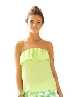 $108 LILLY PULITZER Dew Drop LIME GREEN Ruffled GINNY Strapless Top SILK XXS