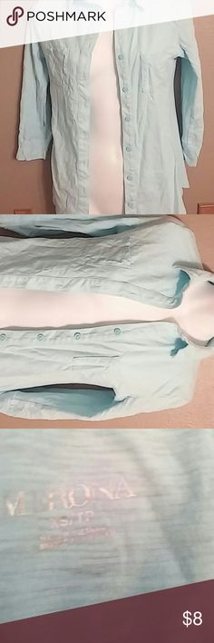 Baby blue shirt Baby blue shirt half sleeves boutton up , with pockets on left and right sides of blouse. Merona Tops Button Down Shirts