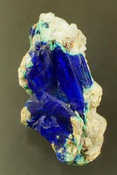 Linarite (blue) with Cerussite and Antlerite (green). From Caldbeck Fells, Cumbria, England, UK