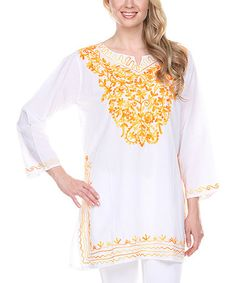 White & Gold Embroidered Notch-Neck Tunic by Ananda's Collection #zulily #zulilyfinds