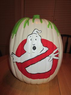 This is the Ghostbusters inspired pumpkin I painted for my husband's surprise party. I used glow in the dark paint on the ghost too! pumpkin painting 25 Unusual Pumpkin Decorating Ideas - Without Carving! Pumpkin Art, Cute Pumpkin, Pumpkin Crafts, Pumpkin Ideas, Pumpkin Designs, Pumpkin Painting Designs, Ghost Pumpkin, Pumpkin Wreath, Pumpkin Decorating Contest