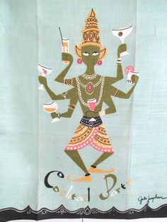 Vintage MID CENTURY Bar Towel Cocktail Party Hindu Goddess