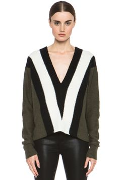 A.L.C. Branch Crepe Wool Sweater in Army & Black & White