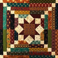 """Patchwork blocks, phase two is done! I don't rise and shine as much as I hit the sewing room and caffeinate. First phase of these """"split personality""""… Patchwork block with a plethora of plaids? Star Quilt Blocks, Star Quilts, Quilt Block Patterns, Mini Quilts, Scrappy Quilts, Quilting, Block Quilt, Log Cabin Quilt Pattern, Log Cabin Quilts"""