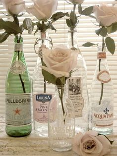 Bottles as vases. @Mira Kostishak this reminds me of you!