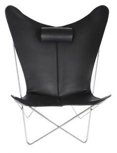OxDenmarq Armchair KS Chair - Stainless Steel Frame - Leather - Black |  Butterfly chairs DesignOnline24
