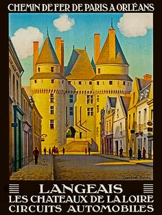 Art Frans reizen Poster Frankrijk Langeais Vintage door Blivingstons