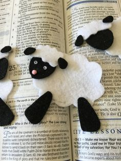 Delight yourself and your Bible pages with these adorable felt sheep kits. Easy to assemble. Great for Sunday School/VBS crafts for kits; and Mom will like it to for her Bible Journaling pages. Would be cute as embellishments for Baby shower invitations, card making and scrapbook pages. You will receive enough items to make 6 completed sheep The Sheep: body measures approx. 2-1/2 x 2. face measures approx. 1-1/2 x 1 legs measures approx. 1-1/4 x 5/8 head measures approx. 1-1/4 x 3/4 ears...