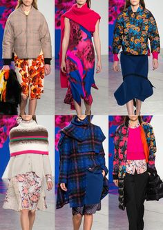 Thakoon A/W 2014/15-Vivid Technicolour Blooms – Super Scale Placement Prints – Ikat Applied Florals – Applique and Embroidered Looks – Brush-mark Stripes – Soft Plaids – High Contrast Pattern – Colour Blocked Panels – Pattern Mix-ups – Asymmetrical Layouts